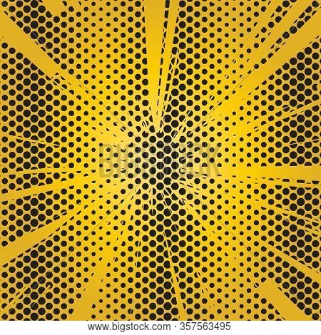 Effect Motion Lines For Comic Book And Manga. Speed Lines With Effect Explosion On Halftone Rays Bac