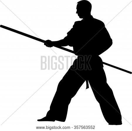 Martial Arts Silhouette. Karate Kick Vector Pose