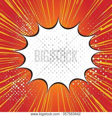 Pop Art Style Speech Bubble Design On Halftone Rays Background. Effect Motion Lines For Comic Book A