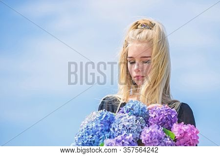 Beauty Of Spring Season. Girl Tender Blonde Hold Hydrangea Bouquet. Skin Care And Beauty Treatment.