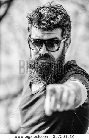 Uv Filter. Bearded Hipster Brutal Man Wear Protective Sunglasses. Man Bearded With Sunglasses Nature