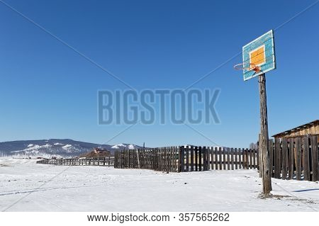 Khatgal, Mongolia, February 27, 2020 : Khatgal In Winter. The Small Town Is Known As One Of The Cold
