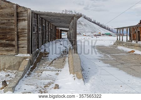 Khatgal, Mongolia, February 28, 2020 : Stables In Khatgal. The Small Town Is Known As One Of The Col