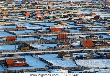 Khatgal, Mongolia, March 2, 2020  : Top View Of Khatgal. The Small Town Is Known As One Of The Colde