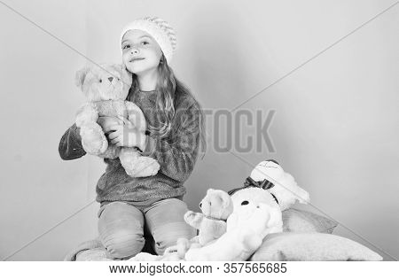 Unique Attachments To Stuffed Animals. Child Small Girl Playful Hold Teddy Bear Plush Toy. Teddy Bea