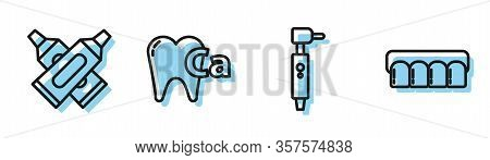 Set Line Tooth Drill, Crossed Tube Of Toothpaste, Calcium For Tooth And Dentures Model Icon. Vector