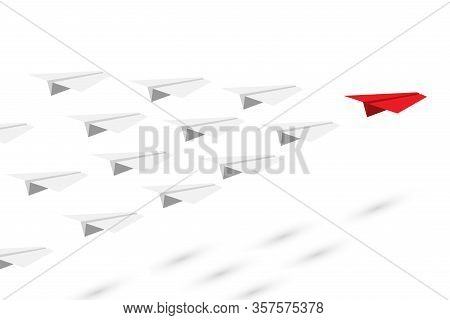 Kol Red And White Paper Plane Flying At Common Goal. Leader And Followers. Key Opinion Leadership. I
