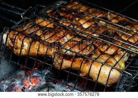 Barbecue Fire, Hot Coals, Grilled Chicken Meat