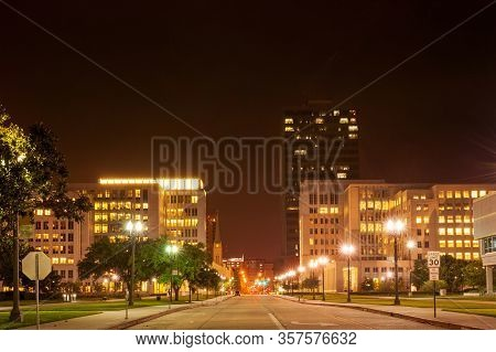 Night View Of Central 4th Street In Downtown Baton Rouge, Capital Of Louisiana, Usa