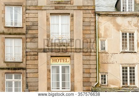 Antique Hotel Building By The City Wall Of Famous Corsair Fortress Saint-malo, Brittany, France