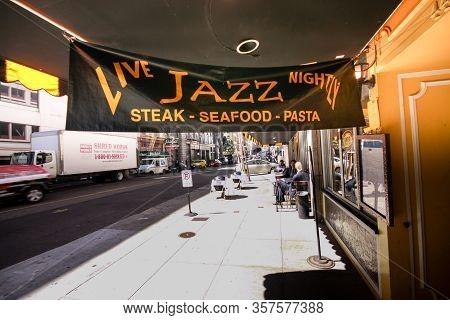 San Francisco, Ca, Us - Sept 22, 2010: Oldest Jazz Club And Cafe Les Joulins Jazz Bistro At Ellis St