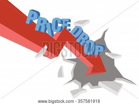 Typographic Design Of Price Drop With A Giant Arrow. Concept Of Business Promotion Or Retail Discoun