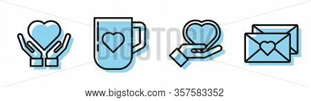 Set Line Heart On Hand, Heart On Hand, Coffee Cup And Heart And Envelope With Valentine Heart Icon.