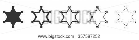 Sheriff Star Vector Icons. Set Of Star Symbols On White Background. Vector Illustration. Various Bla