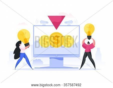 Inventors Offering Ideas During Crowdfunding Campaign. Flat Vector Illustration