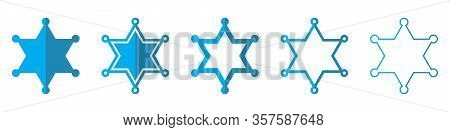 Sheriff Star Vector Icons. Set Of Star Symbols On White Background. Vector Illustration. Various Blu