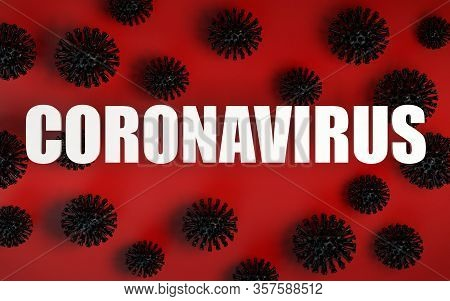 3d Render Banner Of Virus Models And Warning Text Banner Of Coronavirus And Covid-19 Global Epidemy.