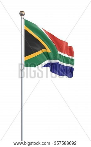 Flag Of South Africa Blowing In The Wind. Background Texture. 3d Rendering; Waving Flag. - Illustrat