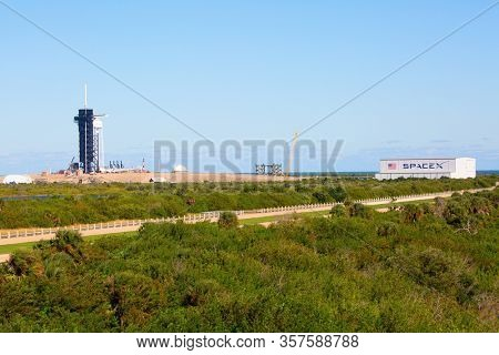 KENNEDY SPACE CENTER, FLORIDA, USA - DECEMBER 2, 2019: NASA Launch site LC-39A at Kennedy Space Center. The LC-39A is used by SpaceX for Falcon 9 and Falcon Heavy launches