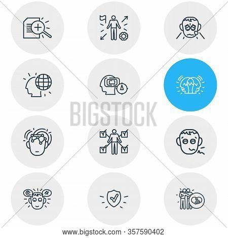 Vector Illustration Of 12 Emoji Icons Line Style. Editable Set Of Mind Map, Pathetic, Protection And
