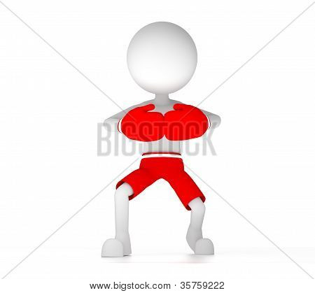 3D Boxer With Red Gloves And Short Pants