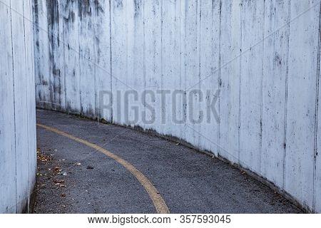 Roadway. Tunnel. Turn Left. No People. No Cars. No One. Manzano, Friuli-venezia Giulia. Italy