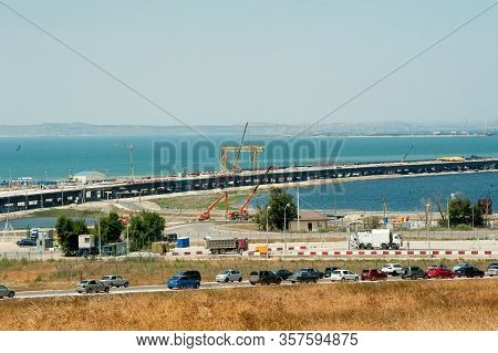 Taman, Russia - July 12, 2017: Construction Of A Bridge Across The Kerch Strait, A View Of The Coast