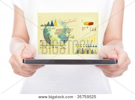 Woman hand using a touch screen device against white background (Elements of this image furnished by NASA)