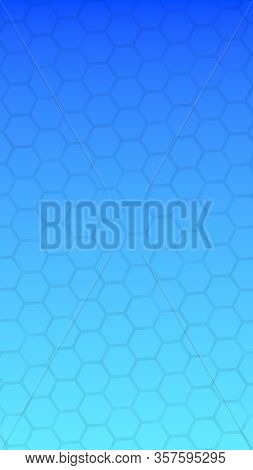 Translucent Honeycomb On A Gradient Blue Sky Background. Perspective View On Polygon Look Like Honey