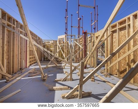 Framing Of A New House Or Condominium Complex