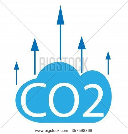 Co2 Emissions In Cloud Icon Isolated. Carbon Dioxide Formula Symbol, Smog Pollution Concept, Environ