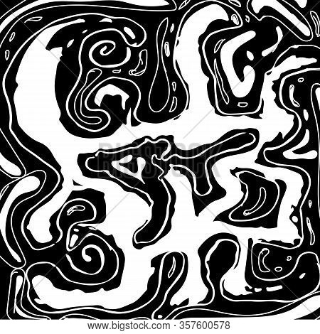 Abstract Black Spreading Spots. Spontaneous Imprint And Sketched Vector Contrast Black And White Bac