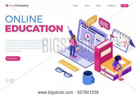 Online Education Or Distance Exam With Isometric Character Internet Course E-learning From Home Boy
