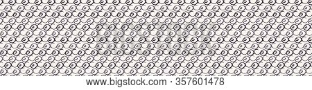 Monochrome Scribble Line Texture Border Background. Distressed Organic Painterly Glitch Seamless Ban