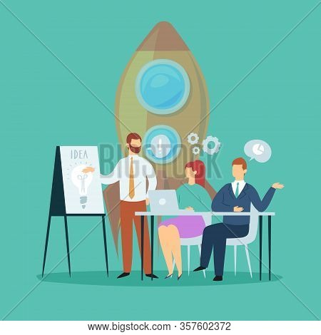 Business Concept Idea Meeting And Brainstorming Cartoon Vector Illustration. Idea And Business Conce