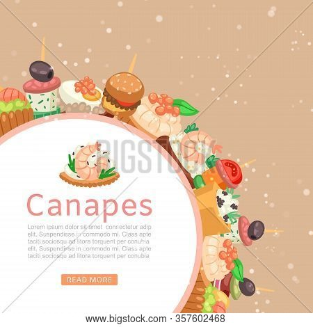 Canapes, Tapas On Plate Web Banner, Appetizer Dish With Caviar, Olives And Green Vegetables Cartoon