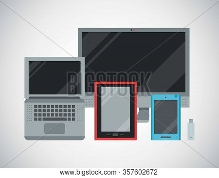 Computer Devices And Connected Mobile Communication High Tech Multimedia Vector Illustration. Transm