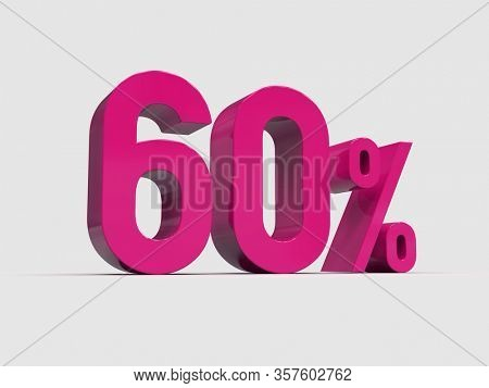 3d Render: Red 60% Percent Discount 3d Sign on Light Background, Special Offer 60% Discount Tag, Sale Up to 60 Percent Off, Sixty Percent Letters Sale Symbol, Special Offer Label, Sticker, Tag