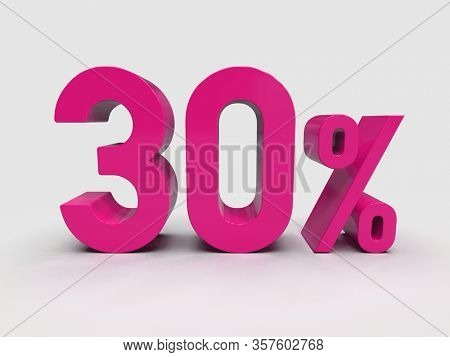 3d Render: Pink 30% Percent Discount 3d Sign on Light Background, Special Offer 30% Discount Tag, Sale Up to 30 Percent Off, Thirty Percent Letters Sale Symbol, Special Offer Label, Sticker, Tag