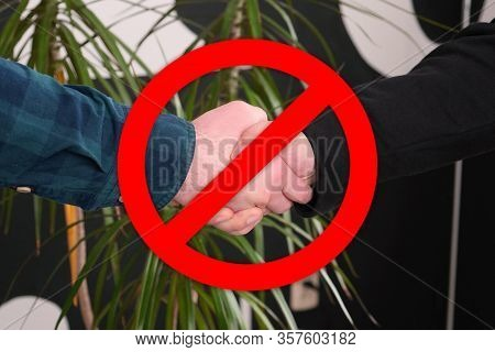 No Handshakes Greeting To Avoid The Spread Of Coronavirus. Covid-19 Changes Etiquette. No Handshake