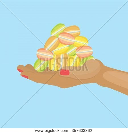 Macaroons On Hand Sweet Fresh Baked Almond Cookies Of Different Taste And Colour Cartoon Vector Illu
