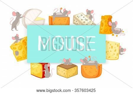 Mice And Pieces Of Cheese Vector Cartoon Illustration Of Mouse Happily Nibbling On Chunk Of Cheese.