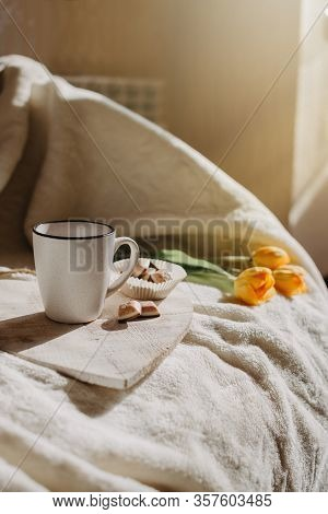 Morning Routine, Miracle Morning, New Day Concept. Best Ritual And Habits. Cup Of Coffee, Whole Grai