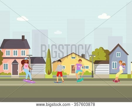 Scaters Kids In City Town Boys And Girls Skating On Skateboard Cartoon Vector Illustration. Skateboa