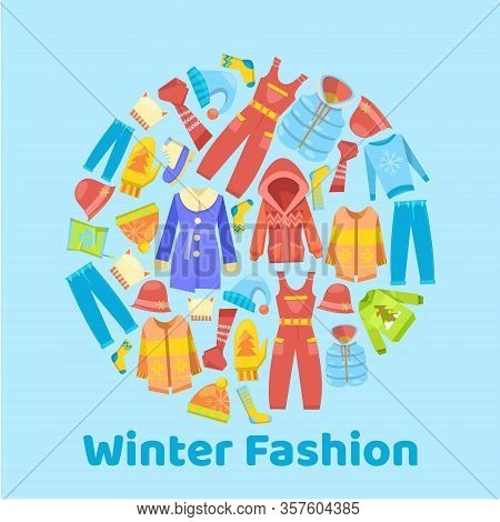 Warm Winter Fashion And Woolies, Winter Apparel With Scarf, Winter Cloths, Outerwear Seasonal Poster