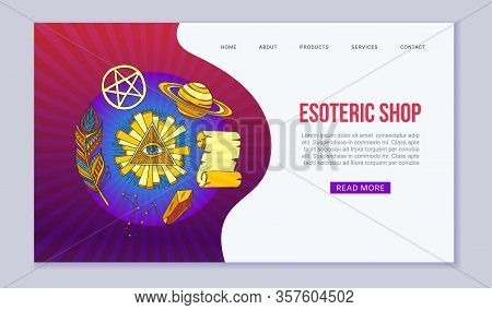 Esoteric Symbols And Occult Objects Web Vector Template. Cartoon Esotery Manuscript, Eye In Triangle