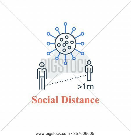 Social Distance, Keep Away, Avoid Contact, Self Isolation, Two People Standing, Stop Virus Spread, R