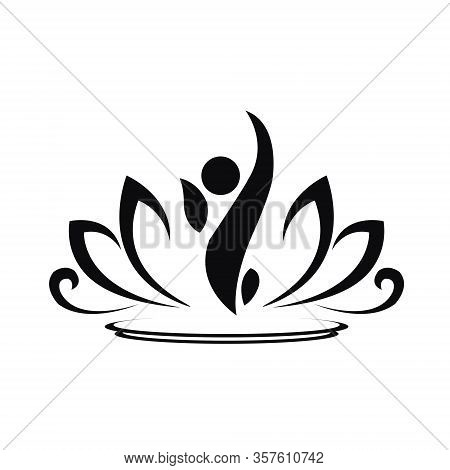 Lotus Flower Vector Logo Icon Spiritual Simple Isolated Silhouette Symbol Sign