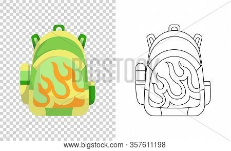 Colorful Backpack Of Pupil. Kids School Bag. Extravagant Student Satchel. Education And Study, Schoo