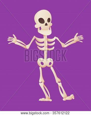 Funny Cartoon Skeleton Spreads His Hands. Vector Bony Character. Human Bones Illustration Skeletal.